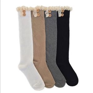 Ivory Boot Socks with Lace Trim
